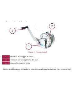 Argano manuale zincato Fervi 0070/C con gancio e cavo 2