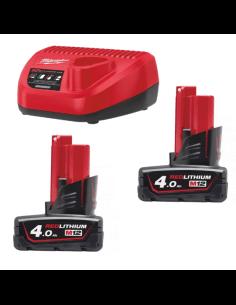 Energy Pack M12™ con 2 Batterie 4.0 Ah e Caricabatteria 12V Milwaukee M12 NRG-402 - 1