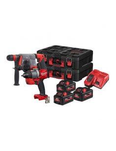 Kit con trapano, tassellatore, 3 batterie M18 (5.5 Ah) e valigetta Milwaukee M18 FPP2M2-553P - 1